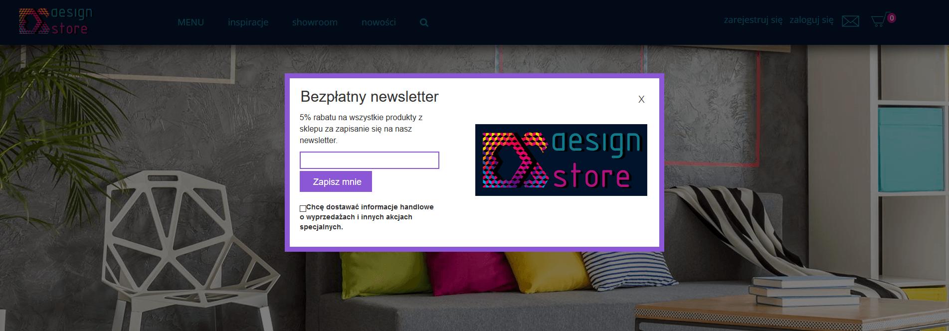Projekt popup Design Store