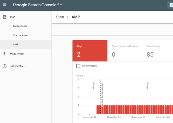 nowy google search console raport amp
